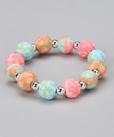 Take a look at this Coral Reef Chunky Silver Ball Stretch Bracelet by Viva Beads on #zulily today!