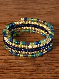Beaded Memory Wire Bracelet with Blue and Gold Beads Memory