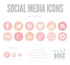 Pink Ombre Social Media Icons   Mint102