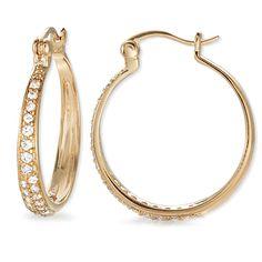 Cubic Zirconia Tapered Elegance Hoop Earrings in Gold Over Silver #earpinearrings #sterlingsilverearpins #earringsthatgoup #pinearrings #earpinsjewelry #earpin #earpin #earspirals #earspirals #slideonearrings #climbtheearearrings #wrapearrings #nonpiercedearrings #earcuffs #personalizedbracelets #earcuffs #cuffearrings #cliponearrings #earspiralsearrings #earspiralearrings