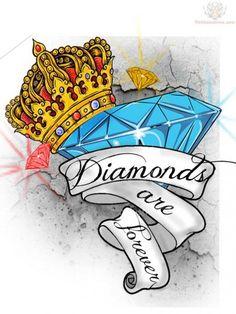 Blue Diamond And Crown Tattoo Design : Crown Tattoos Cute Tattoos, Unique Tattoos, Beautiful Tattoos, Flower Tattoos, Hand Tattoos, Sleeve Tattoos, Tattoos For Guys, Crown Tattoos, Diamond Crown Tattoo