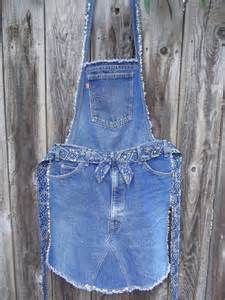 74 Great DIY ideas for recycling old jeans - Diy Projekte - Denim Diy Old Jeans, Jean Diy, Jean Apron, Salopette Jeans, Jean Crafts, Diy Mode, Denim Ideas, Sewing Aprons, Denim Aprons