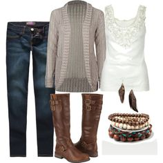 hmm, ill take the boots. . and the jeans. . ya the sweater also. . mmm might as well throw the tank top in. .know what ill take the jewlery as well. Thank you!