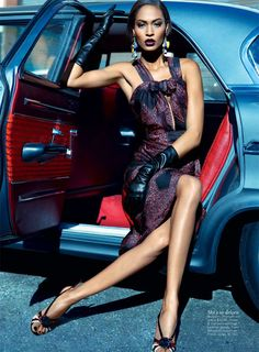 Prada fashion pose in classic car ♥ App for your car ★ Car Warning Lights guide, now in App Store http://Carwarninglight.com