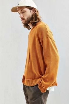 UO Distressed Modern Crew Neck Sweater - Urban Outfitters