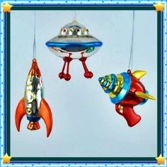 Amazon.com - Christmas Vintage Style Outer Space Mini Glass Ornaments, Set of 3, Ray Gun, Flying Saucer