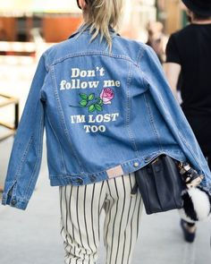 Jacket: denim spring quote on it embellished denim striped pants spring outfits roses embroidered