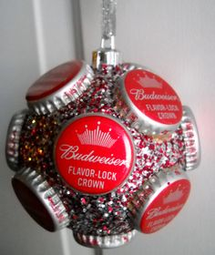 Budweiser beer bottle cap ornament by jennaevesblocks on Etsy, $7.50