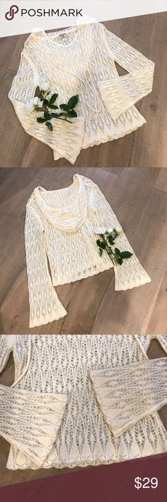 Hooded Sweater - Like New! Hand knitted or crocheted look with A boho vibe.  Open knit so a camisole will be perfect! American Rag Sweaters