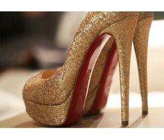 Sparkly gold high heels