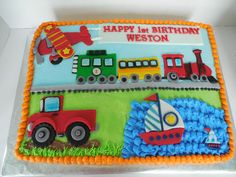 "Transportation Themed Cake - First Birthday Cake made to match ""On the Go"" party plates."