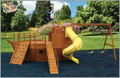 Boat playhouse plans Style packed and all around kick butt Pirate Ship available anywhere My son I did it We actually built Backyard Playset, Backyard Playground, Playhouse Plans, Playhouse Outdoor, Outdoor Wooden Playsets, Outdoor Play Structures, Kids Play Spaces, Play Yard, Backyard Projects