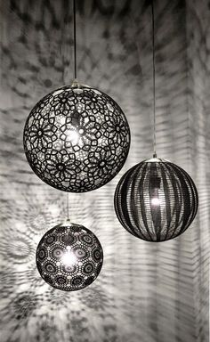 Handcrafted in Mexico, Liz Lamps are individually hand-crocheted to achieve this amazing patterns. The result? A delicate-looking, airy lamp capable of enhancing any space. Details and Dimensions - Co Outdoor Light Fixtures, Outdoor Lighting, Doily Lamp, Crochet Lamp, Light Project, Lamp Sets, Lamp Shades, Light Decorations, Lighting Design
