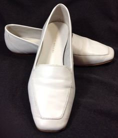 Antonio Melani Shoes 8 Womens Empire White Leather Loafer Ballet Flats Vintage #AntonioMelani #LoafersMoccasins