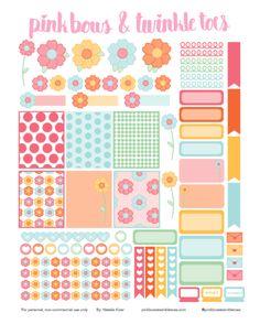 FREE Erin Condren LifePlanner sticker printable - Spring Fling flowers theme - vertical planner printable