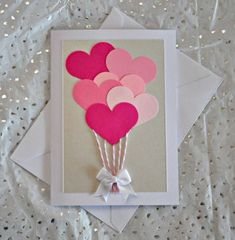 Easy and creative DIY Valentine card ideas to make at home.Valentine day cards for kids, last minute diy cards for valentine. Valentines Day Cards Handmade, Unique Birthday Cards, Valentine Day Crafts, Valentines Hearts, Mothers Day Cards, Valentine's Day Diy, Creative Cards, Creative Gifts, Diy Cards