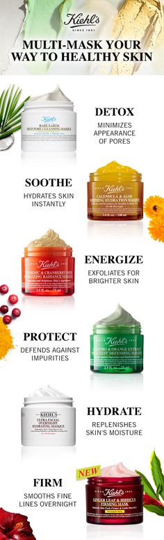 Kiehl's has the perfect mask pairs for your skincare concerns! Detox and minimize pores with Amazonian white clay in the Rare Earth mask, hydrate and sooth with the Calendula mask, exfoliate and brighten with the Turmeric and Cranberry mask, protect and detox with the Cilantro and Orange mask, hydrate overnight with the Squalane in our Ultra Facial Mask, and now firm and tighten with our powerful hibiscus and ginger leaf Overnight Firming Mask.