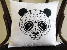 Sugar Skull Panda Pillow 14x14 Pillow by badbatdesigns on Etsy, $14.00