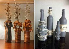 Floreros de una botella de vidrio decorado con hilos y cintas Bling Bottles, Home Decor, Flower Vases, Bias Tape, Decoration Home, Room Decor, Home Interior Design, Home Decoration, Interior Design