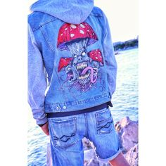 Hand Painted Denim Jacket Mushroom Rave