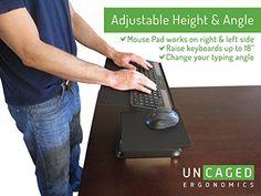 AmazonSmile : Uncaged Ergonomics WorkEZ Keyboard Tray & Mouse Pad, Adjustable Height & Angle Ergonomic Standing Computer Keyboard Stand, Black (WEKTb) : Office Products