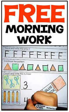 FREE kindergarten morning work for literacy & math skills! Use as model to develop preschool morning work. Kindergarten Morning Work, Kindergarten Readiness, Kindergarten Classroom, Classroom Activities, Classroom Ideas, Kid Activities, Sight Words, School Fun, Middle School