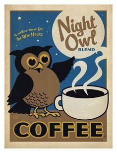 Coffee Night Owl Blend   Food and Beverage retro advert   Vintage food & drink poster