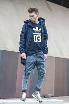 Trousers Madox Design, Parka Madox Design, T Shirt Adidas Originals, Zx Flux… Adidas Flux, Sport Fashion, Look Fashion, Urban Fashion, Fashion Fashion, Fashion Design, Outfits 2014, Cool Outfits, Men Street