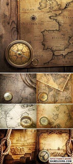 Vintage map with compass - raster clip art.Vintage map with compass - raster clipart Vintage Maps, Antique Maps, Vintage Travel Posters, Vintage Prints, Map Compass, Compass Rose, Map Old, Sextant Tattoo, Map Tattoos
