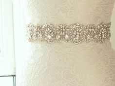 Bridal Belt / Crystal Beaded Wedding Sash / Rhinestone Belt / Wedding Sash (Asteria Sash)