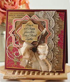 Vintage card by Becca Feeken using Spellbinders dies