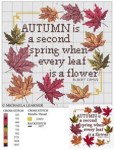 45 Autumn cross stitch patterns / Осенняя пора: 45 простых схем для вышивки - Ярмарка Мастеров - ручная работа, handmade