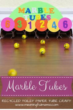 Marble Tubes - toilet paper roll craft What a fun craft for kids. I love recycled crafts!