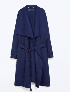 Great color - Blue coat with belt as seen from fashionista.com