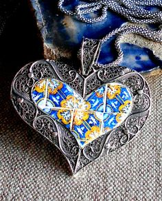 Portugal Silver Filigree Heart Necklace with Antique 17th by Atrio,
