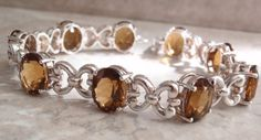 Citrine Bracelet Sterling Silver 7.5 Inch Brown Gold Gemstone Root Beer November Birthstone Vintage Cute Bracelets, Gemstone Bracelets, Sterling Silver Bracelets, Silver Jewelry, Brown Gemstone, Vintage Silver, Vintage Jewelry, Beautiful Necklaces, Root Beer