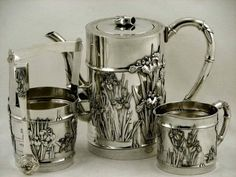 Japanese Sterling Tea Set          Enamel            Signed              Meiji   #SanjuSaku