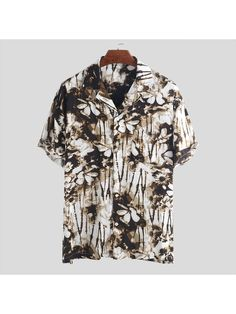 Shirt Tops Blouse Summer Tee Button down Down collar Beach Leopard Print Holiday