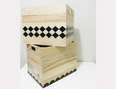 Solid Crate with hand grip - natural pine / vinyl decal. Size: x x * Extra shipping cost incurred due to size of item