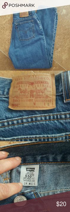 Levi's Relaxed Jeans Relaxed, tapered leg. Waist 30 inches. Inseam 28 inches. Rise 10 inches. Levi's Jeans