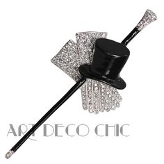 ICONIC Trifari Art Deco Paste & Black Enamel Top Hat, Gloves & Cane Brooch - MCJ #Trifaridesign