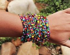 African Seed Bead Bracelet for Women Chunky Wrap Bracelet African Jewelry Maasai Jewelry Beaded Neck African Beaded Bracelets, Beaded Wrap Bracelets, Crochet Bracelet, African Beads, African Jewelry, Seed Bead Bracelets, Seed Beads, Peyote Bracelet, Stackable Bracelets