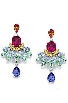 Piaget Rose Passion earrings (diamonds, orange garnets, sapphires, aquamarines, tourmalines, rubellites) #PurelyInspiration
