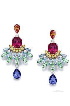 Piaget Rose Passion earrings (diamonds, orange garnets, sapphires, aquamarines, tourmalines, rubellites) #PurelyInspiration