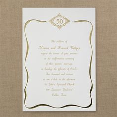 Join us as we renew our vows! This ecru invitation features a design and a gold foil border. Vow Renewal Invitations, Anniversary Invitations, Vows, Place Card Holders, Party, Design, Birthday Invitations, Parties