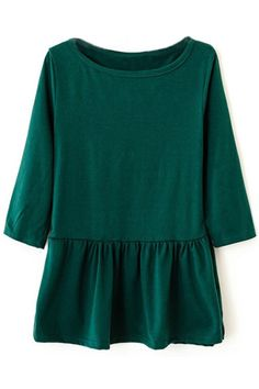 Round Neck Pleated Cropped Green T-shirt