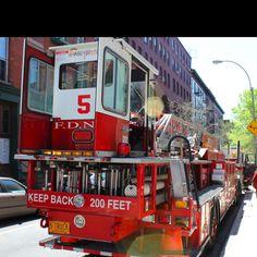 Tiller #Firetruck in NYC. This is Ladder 5 #FDNY. Taken by Kids Fire Dept.