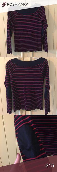 Lauren Ralph Lauren thin sweater Lauren Ralph Lauren size medium thin sweater top. Navy with red stripes and navy patch elbow. Lauren Ralph Lauren Sweaters