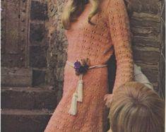 CROCHET DRESS PATTERN Vintage 70s Dress with by Liloumariposa
