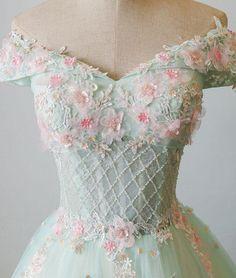 Green v neck tulle beads long prom dress, tulle evening dress